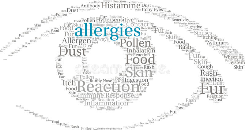 Allergies Word Cloud. On a white background vector illustration