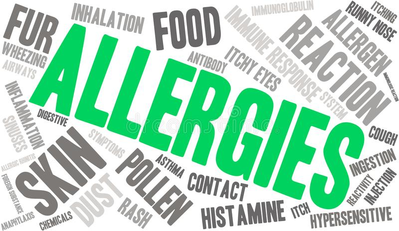Allergies Word Cloud. On a white background stock illustration