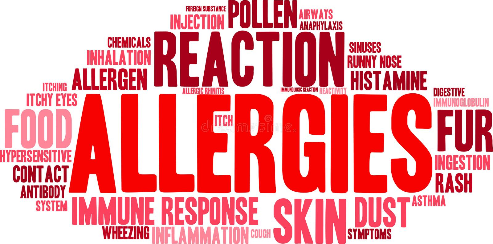 Allergies Word Cloud. On a white background royalty free illustration