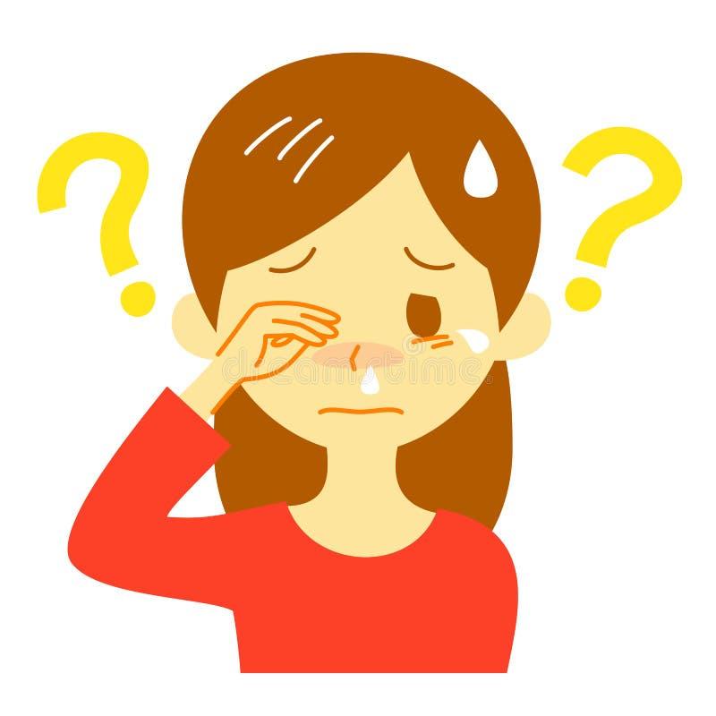 Allergiesymptom, unbekannte Ursache, denkende Frau stock abbildung