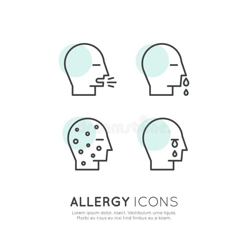 Allergin, mat och den älsklings- intolerans-, hudreaktions-, ögon- och nässjukdomen för hemhjälp, rengöringsduksymboler isolerade royaltyfri illustrationer