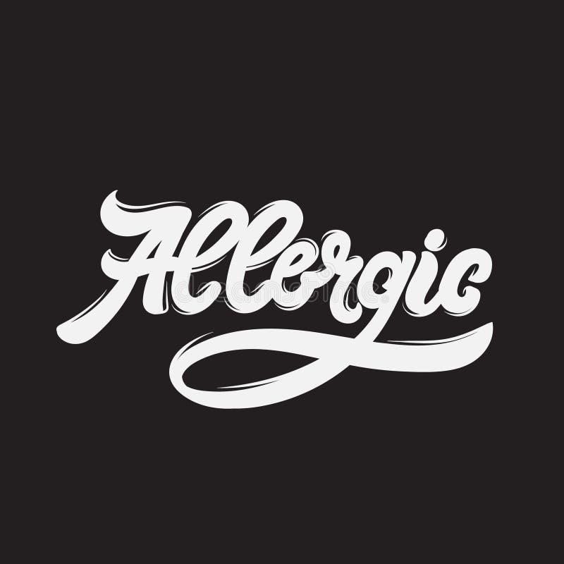 allergisch Het vector met de hand geschreven van letters voorzien vector illustratie