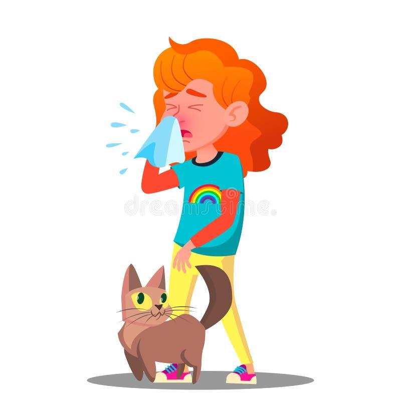 Allergisch, Niezend Meisje met Cat Vector Geïsoleerde beeldverhaalillustratie vector illustratie