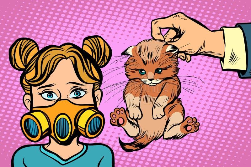 Allergisch voor de kat stock illustratie