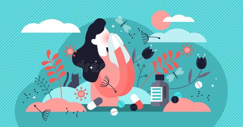 Allergivektorillustration Mycket liten begrepp för dammastmatikerintolerans person stock illustrationer