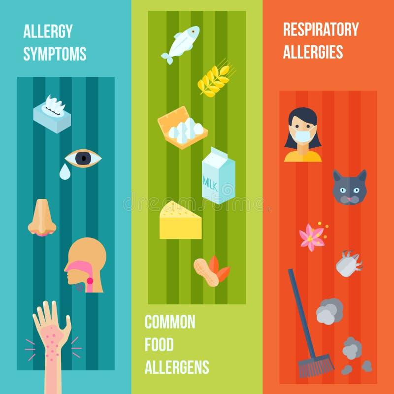 Allergy Banner Set. Allergy flat vertical banner set with respiratory symptoms food allergens elements isolated vector illustration vector illustration