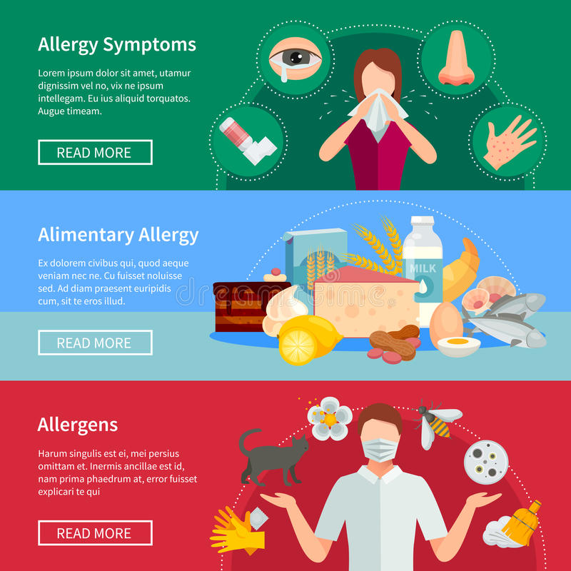 Allergy Banners Set stock illustration
