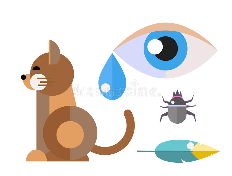 Allergy cat symbols disease healthcare viruses and health flat label people eye with illness allergen symptoms disease stock illustration