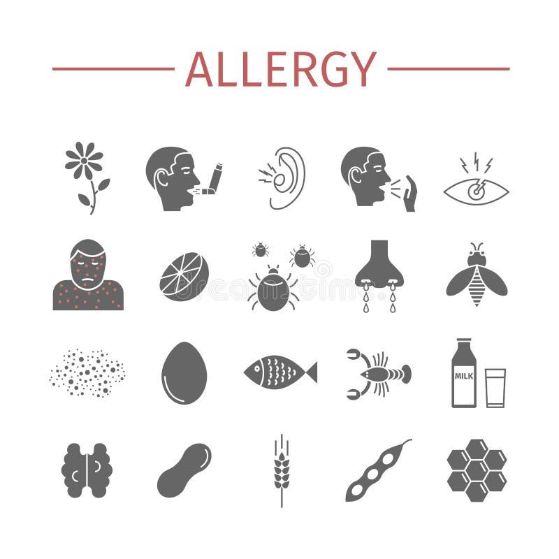 allergy Causas, sintomas Ícones lisos ajustados Sinais do vetor para gráficos da Web ilustração do vetor