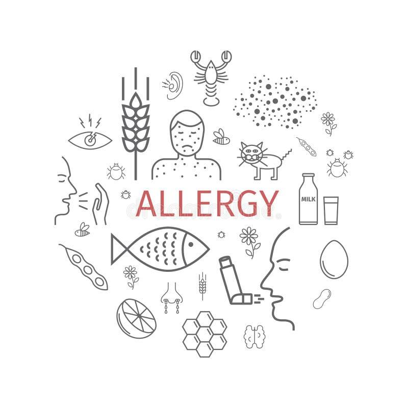 allergy Causas, sintomas Linha bandeira dos ícones ilustração stock