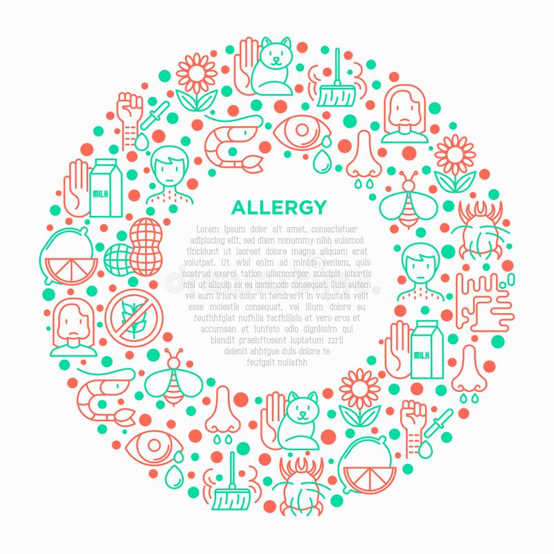 Allergy concept in circle with thin line icons. Runny nose, dust, streaming eyes, lactose intolerance, citrus, dust mite, allergy test, edema. Modern vector royalty free illustration