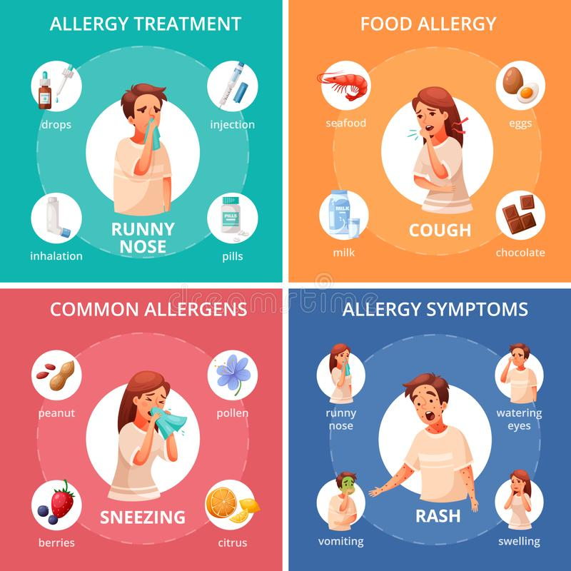 Allergy Concept Icons Set. With food allergy symbols cartoon isolated vector illustration vector illustration