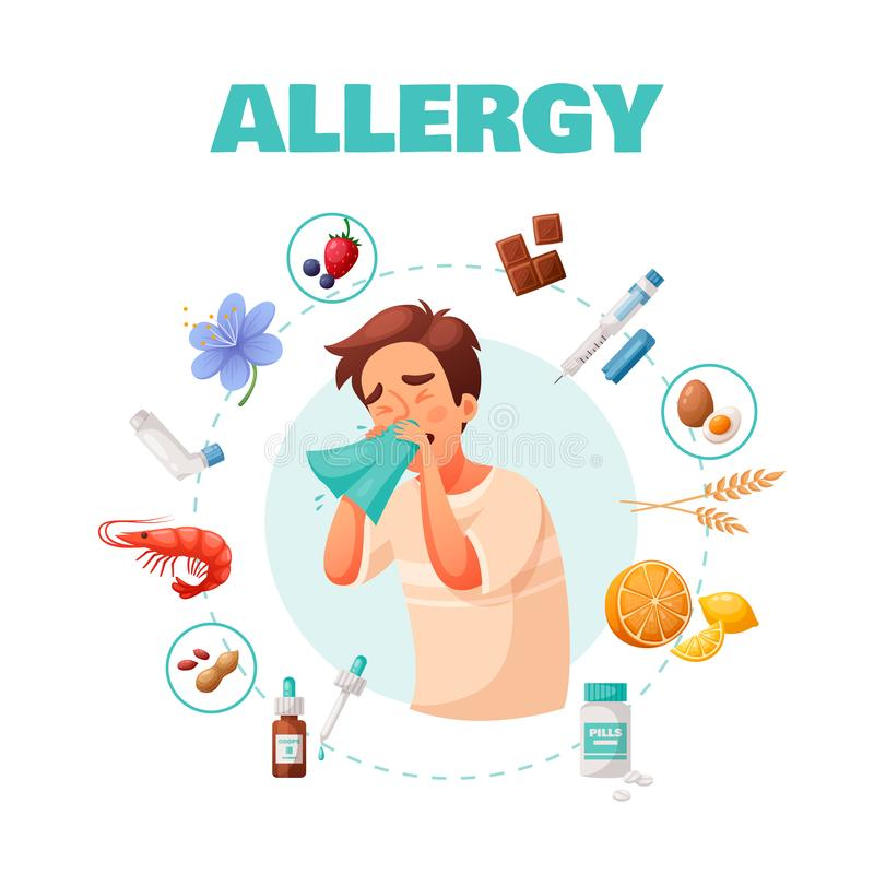 Allergy Concept Illustration. Allergy concept with symptoms treatment and common allergens symbols cartoon vector illustration vector illustration