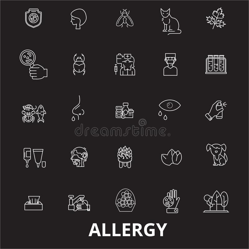 Allergy editable line icons vector set on black background. Allergy white outline illustrations, signs, symbols royalty free illustration