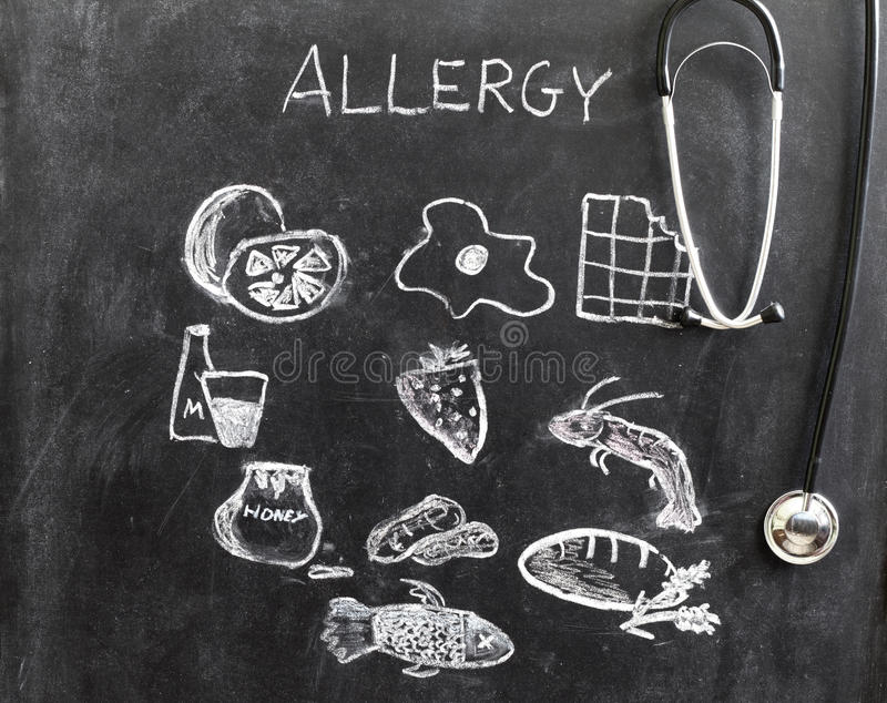 Allergy food and beverages on blackboard stock image