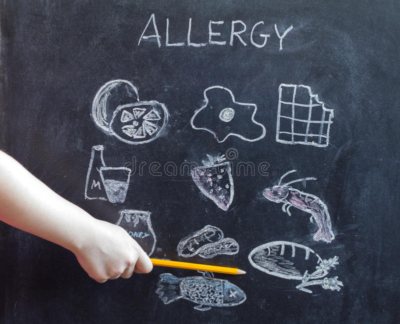 Allergy food and beverages on blackboard royalty free stock photography