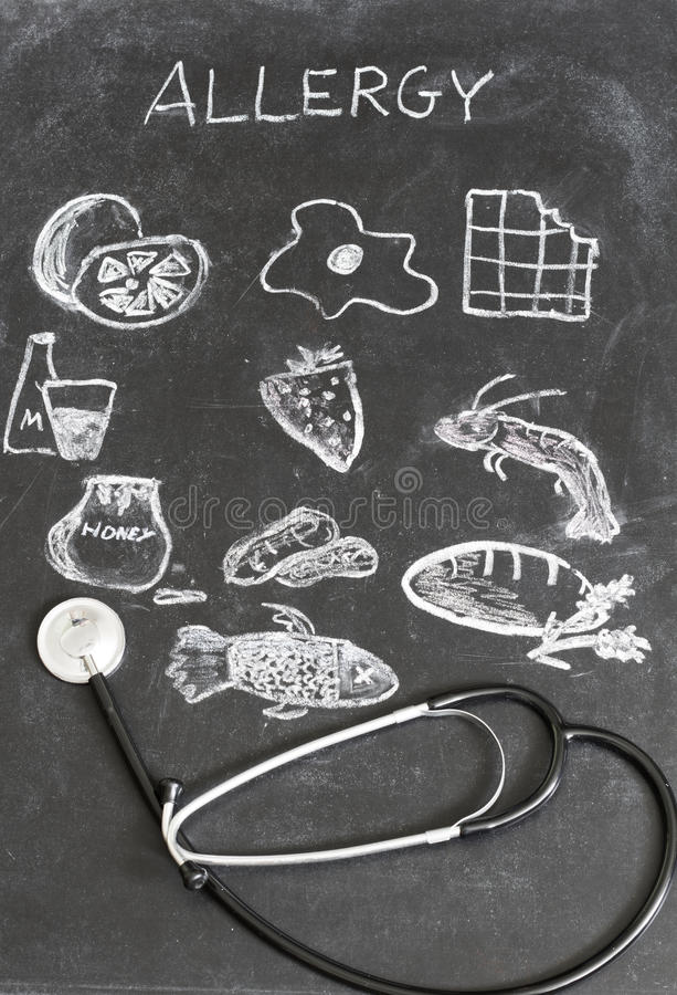 Allergy food and beverages on blackboard stock photos