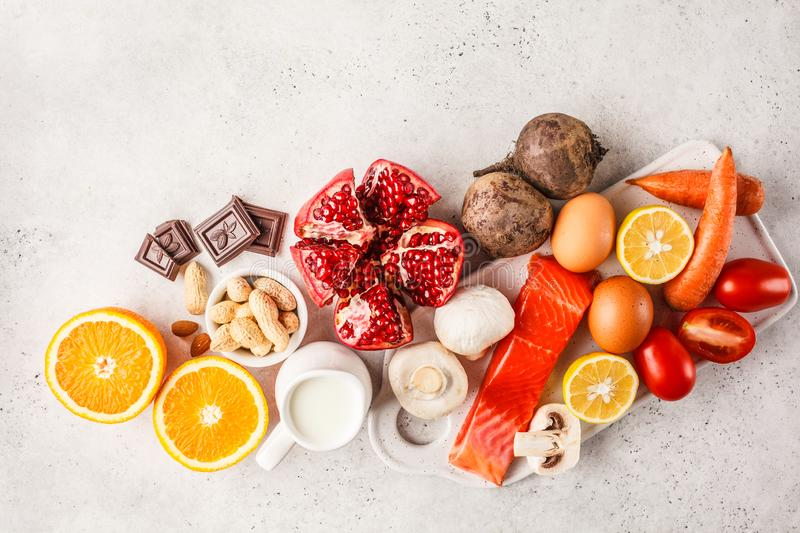 Allergy food concept. Allergies to fish, eggs, citrus fruits, ch. Ocolate, mushrooms and nuts. Health and medicine in food. White background, top view, copy stock photo