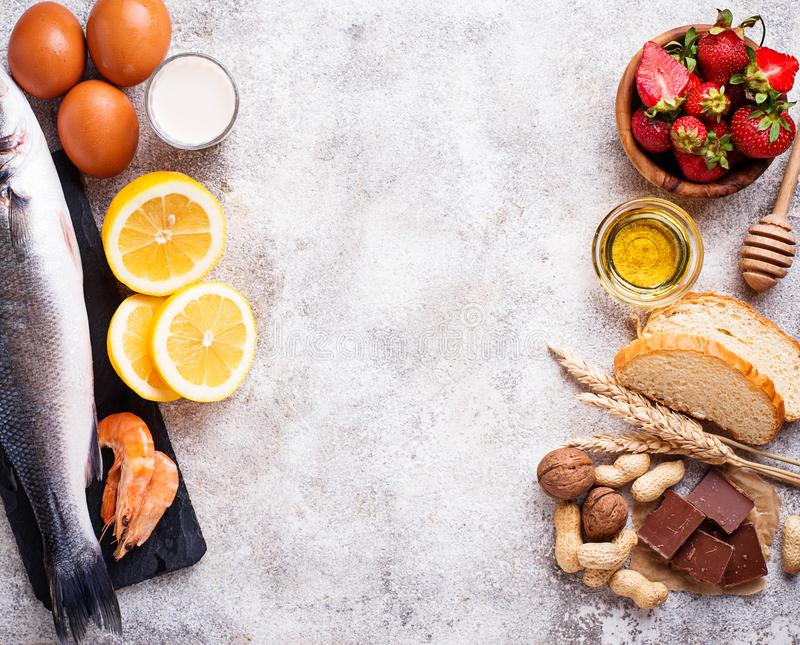 Allergy food concept. Assorted of allergic products. Top view, space for text stock image