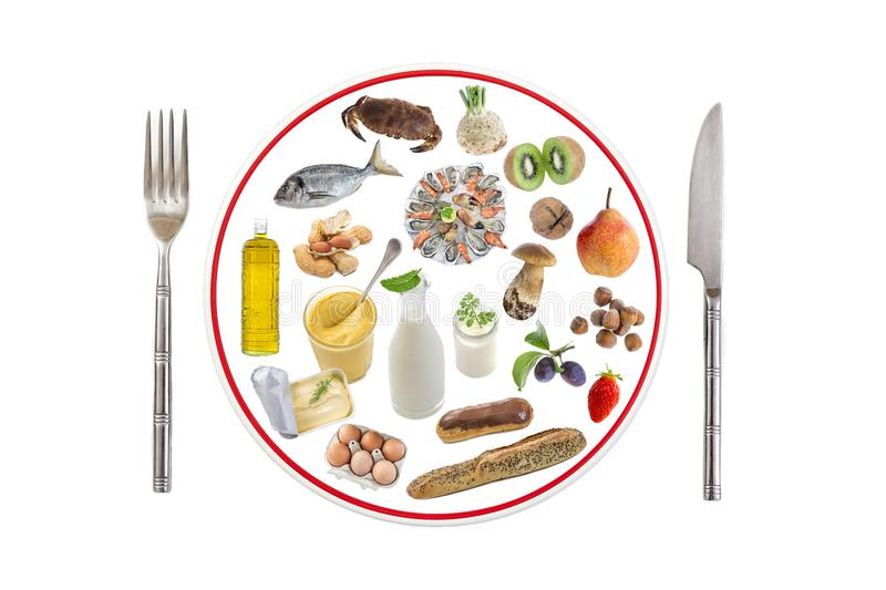 Allergy food concept. Various allergenic types of food on prepare plate with knife and fork over white background stock image