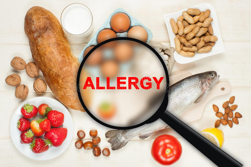 Allergy food. Concept. Food on wooden table royalty free stock photos