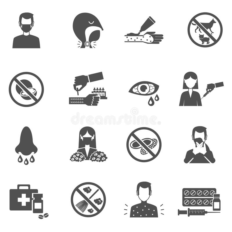 Allergy Icons Black. Set with people with disease symptoms vector illustration stock illustration
