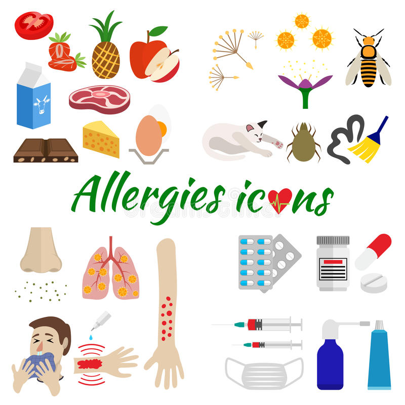 Allergy icons set. The icons are allergic split by category on allergens, symptoms and treatment. isolated on white background vector illustration