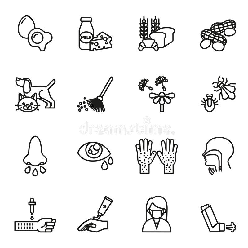 Allergy icons set. vector illustration