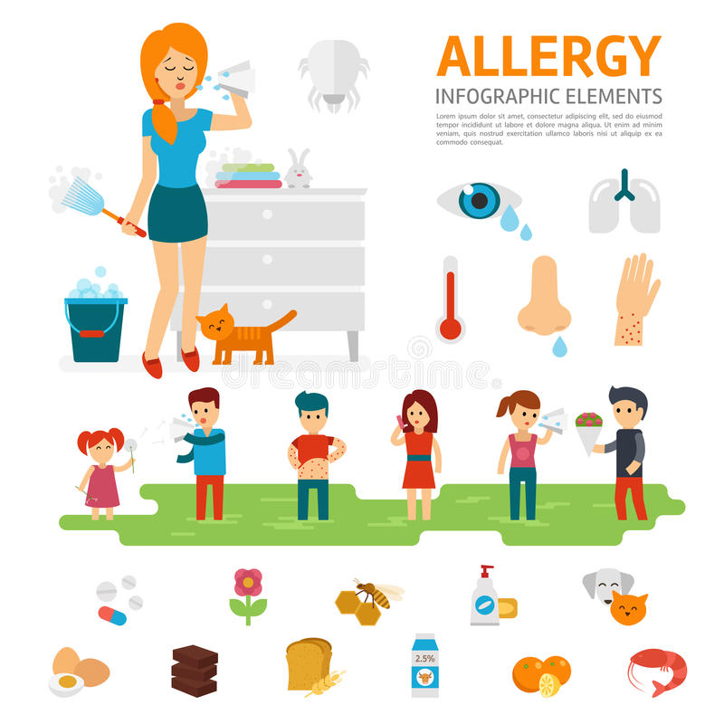 Allergy infographic elements vector flat design illustration. Woman sneezes and allergens icons. People with allergies. vector illustration