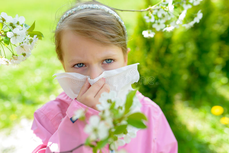 Allergy. Little girl is blowing her nose near spring tree in bloom - sneezing girl. Child with a handkerchief stock images