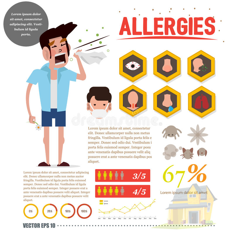 Allergy man with allergy icon set. infographic - stock illustration