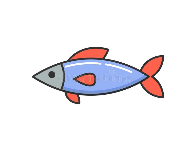 Allergy Reaction to Dish, Raw Cooked Fish Icon stock illustration