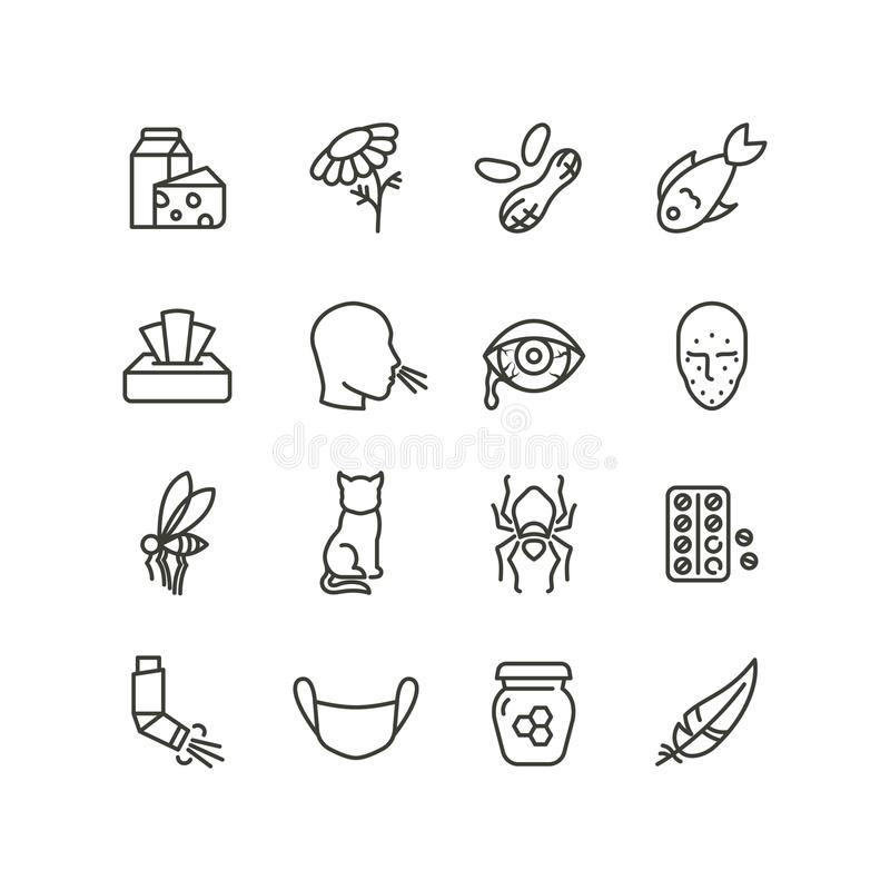 Allergy and rhinitis symptoms line icons. Allergic and allergen outline vector medicine symbols isolated royalty free illustration