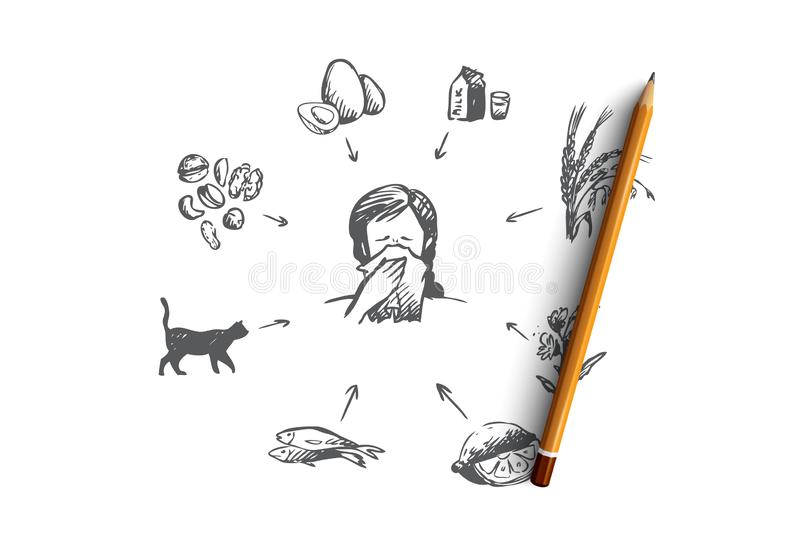 Allergy, sick, disease, sneeze concept. Hand drawn isolated vector. royalty free illustration