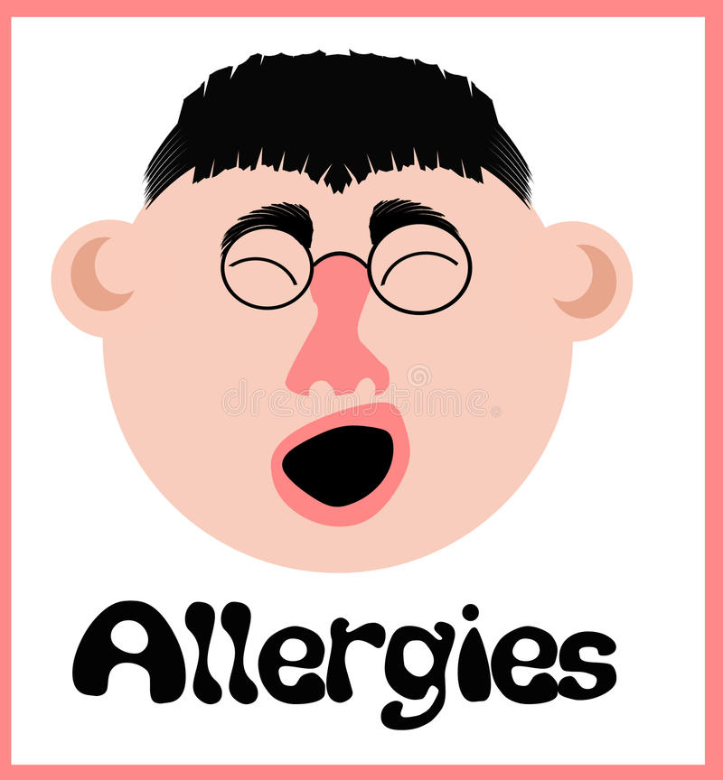 Download Allergy sneeze face stock illustration. Image of sniffle - 15840891