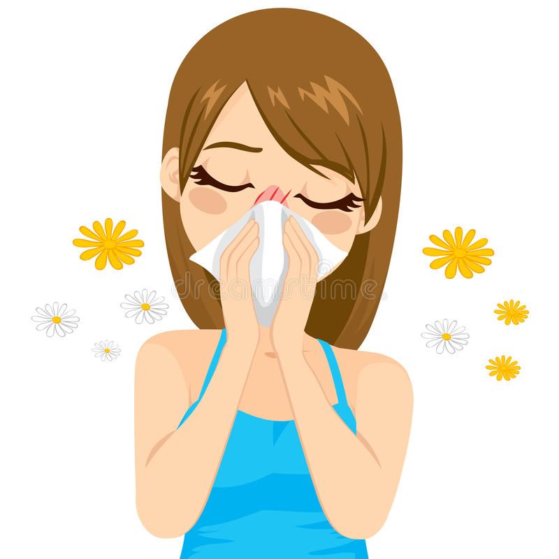 Allergy Suffering Woman. Young sick woman ill suffering spring allergy using tissue on nose stock illustration