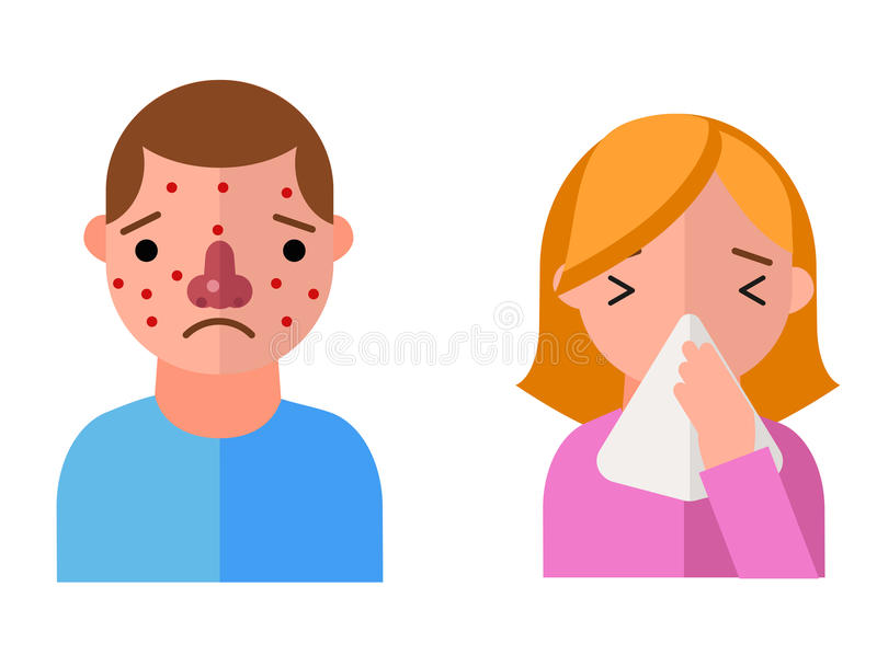Allergy symbols disease healthcare characters viruses and health flat label people with illness allergen symptoms vector illustration