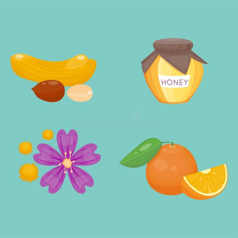 Allergy symbols disease healthcare food. Viruses and health flat illness allergen symptoms disease information vector illustration. Human flower treatment cough vector illustration