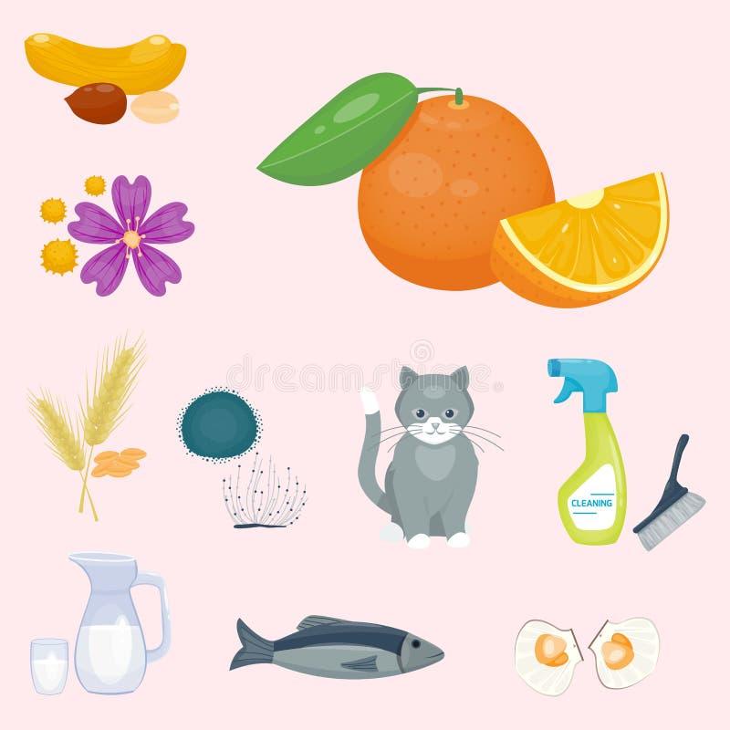 Allergy symbols disease healthcare food viruses health flat illness allergen symptoms disease information vector royalty free illustration