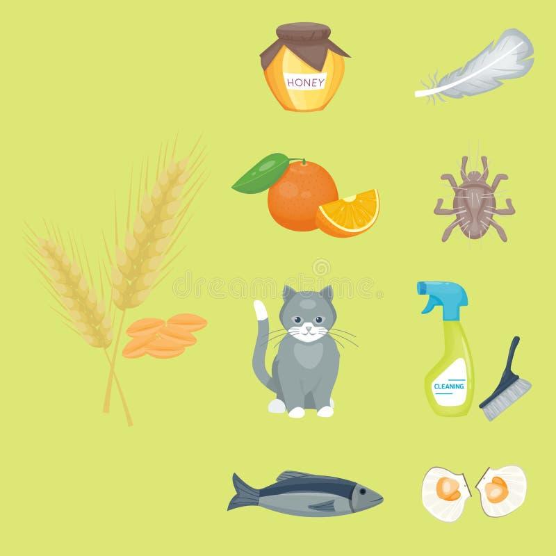 Allergy symbols disease healthcare food viruses health flat royalty free illustration