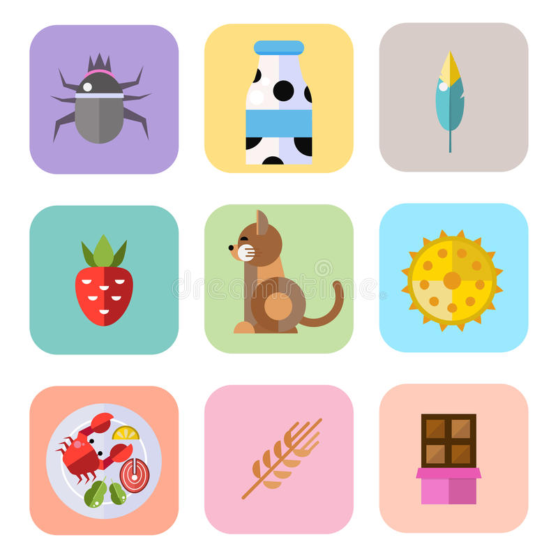 Allergy symbols disease healthcare tablets viruses and health flat label people with illness allergen symptoms disease stock illustration