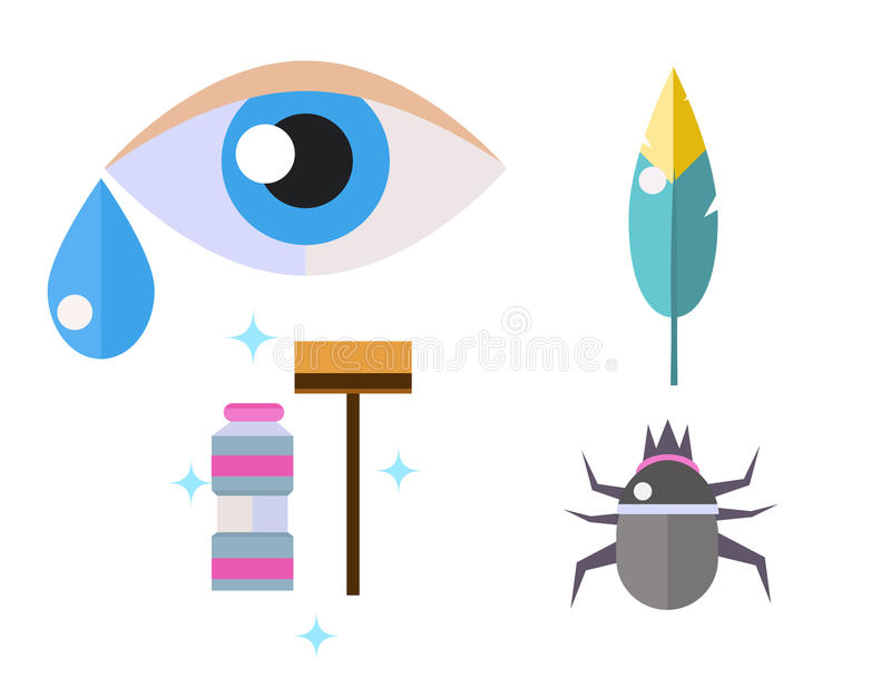 Allergy symbols disease healthcare tablets viruses and health flat label people with illness allergen symptoms disease vector illustration