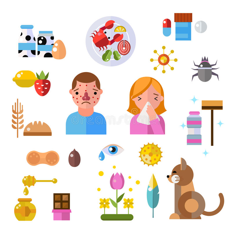 Allergy symbols and people disease information vector symbols royalty free illustration