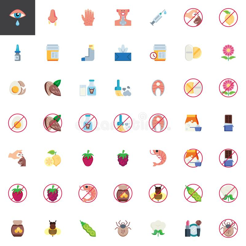 Allergy symptoms elements collection. Flat icons set, Colorful symbols pack contains - Allergen food, Runny nose, Dry eyes, Rash, Nasal spray, Asthma inhaler royalty free illustration