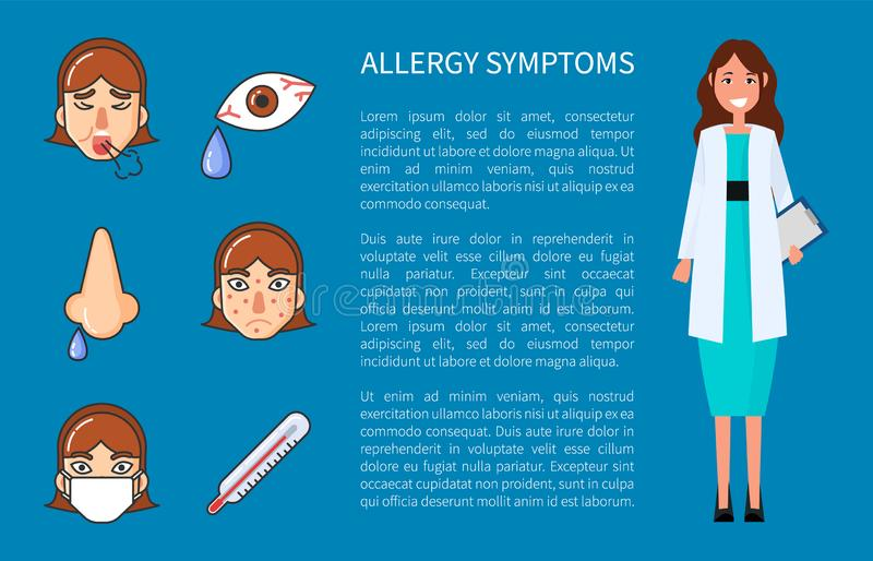 Allergy Symptoms Information with Doctor Vector. Allergy symptoms cough, high temperature, headache, rhinitis and sore eyes. Flat style vector illustration stock illustration