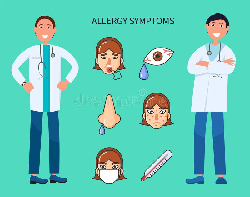 Allergy Symptoms, Patient Sneezing and Crying. Vector. Girl with high temperature and fever, doctors with prescription finding solution cure of illness vector illustration