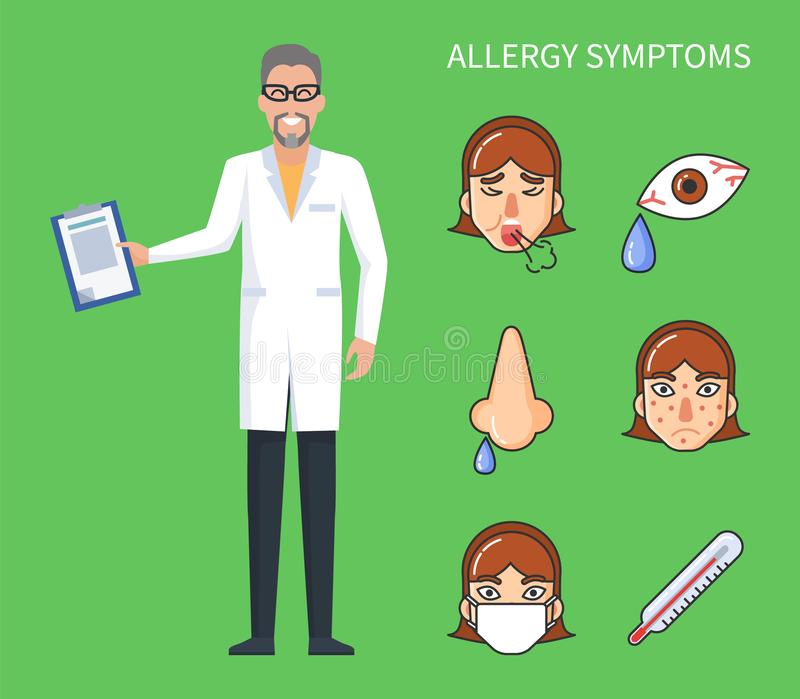 Allergy Symptoms Poster, Cough and Rhinitis Vector vector illustration