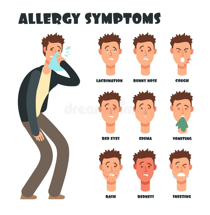 Allergy symptoms with sneezing cartoon man. Medical vector illustration stock illustration
