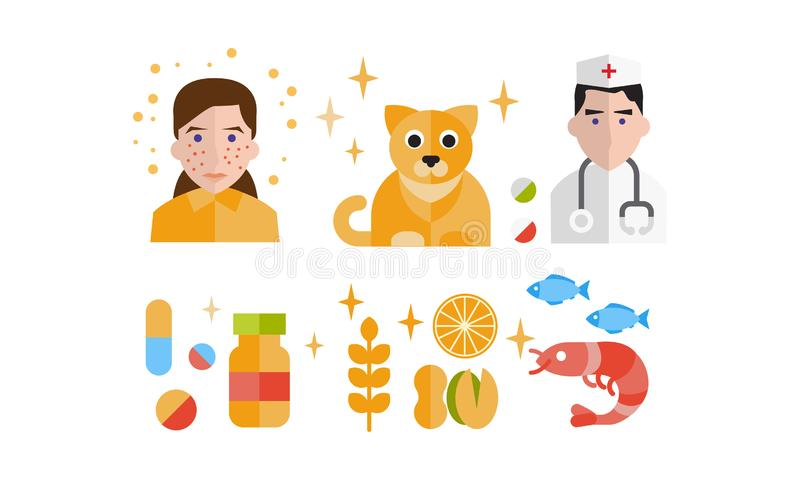 Allergy symptoms and treatment icons set, allergic reaction to animals, food, seafood vector Illustration on a white. Allergy symptoms and treatment icons set stock illustration