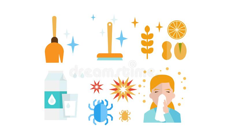 Allergy symptoms and treatment icons set, allergic reaction to dust, food, dairy products, insects, allergic rhinitis royalty free illustration